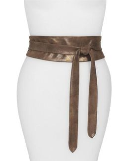'obi' Leather Wrap Belt