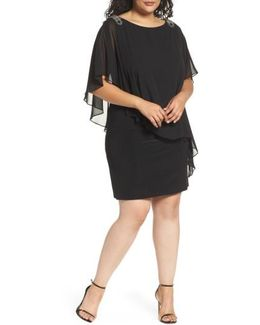 Embellished Chiffon Overlay Jersey Dress