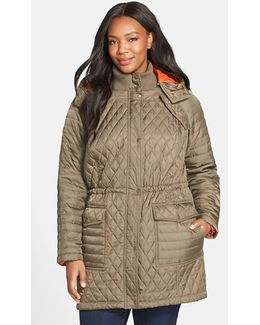 Quilted Jacket With Detachable Contrast Lined Hood