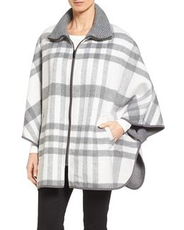 Zip Front Plaid Cape