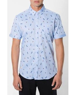 'California Sway' Trim Fit Short Sleeve Print Woven Shirt