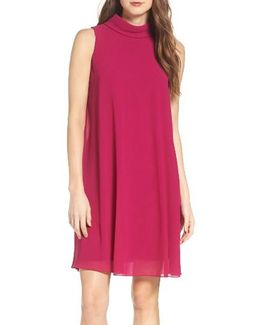 Mock Neck Chiffon Trapeze Dress
