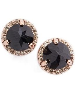 Black Spinel & Champagne Diamond Rosette Stud Earrings
