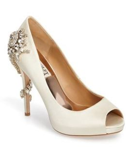 'royal' Crystal Embellished Peeptoe Pump