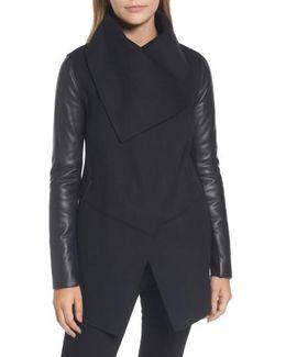 Asymmetrical Leather Sleeve Coat