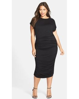 Side Ruched Jersey Midi Dress