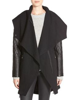 Faux Leather Sleeve Asymmetrical Anorak