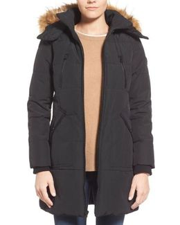 'expedition' Quilted Parka With Faux Fur Trim