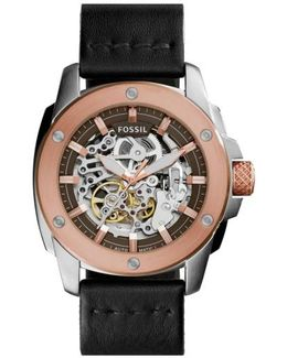 'modern Machine' Skeleton Dial Leather Strap Watch