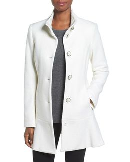 Single Breasted Ruffle Hem Coat