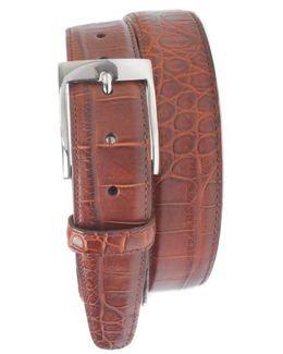 'wellington' Matte Finish Genuine Alligator Leather Belt