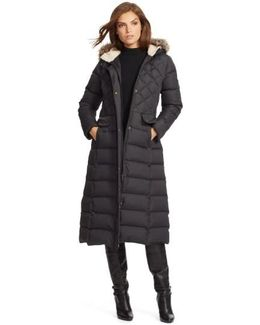 Faux Fur Trim Hooded Long Down & Feather Fill Coat