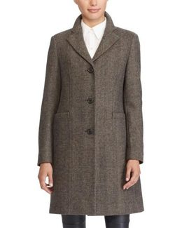 Wool Blend Reefer Coat