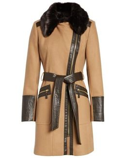 Faux Leather & Faux Fur Trim Belted Wool Blend Coat