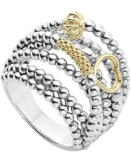 'caviar Icon' Multi-row Dome Ring