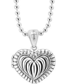 Beloved Fluted Heart Locket Necklace
