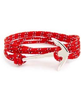 Silver Anchor Rope Wrap Bracelet