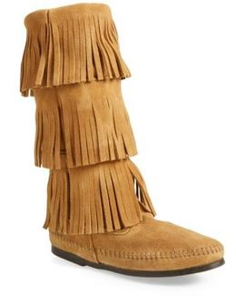 Layered Fringed Suede Boots