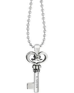 Sterling Silver Key Long Strand Pendant Necklace