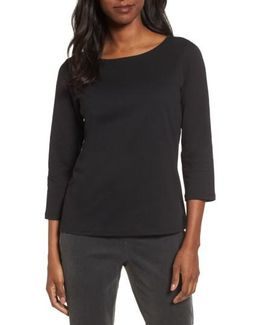 Ballet Neck Three Quarter Sleeve Top