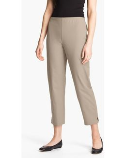 Organic Stretch Cotton Twill Ankle Pants