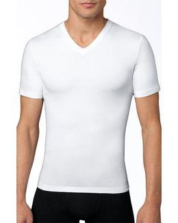 Spanx V-neck Cotton Compression T-shirt