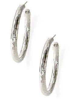 'glamazon - Number 3' Skinny Hammered Hoop Earrings - Sterling Silver