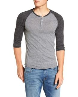 Trim Fit Heathered Raglan Henley