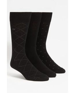 3-pack Patterned Socks, Black