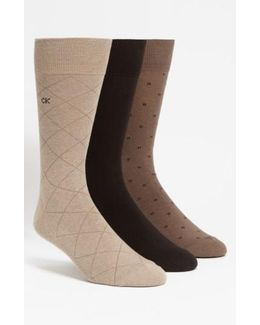3-pack Patterned Socks, Beige