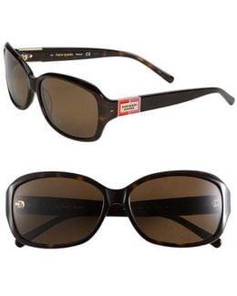 'annika' 56mm Polarized Rectangular Sunglasses