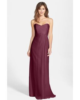 Strapless Crinkle Chiffon Gown