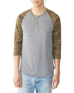 Three Quarter Sleeve Raglan Henley