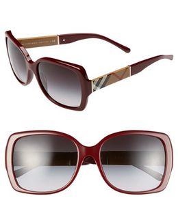 58mm Square Sunglasses - Bordeaux