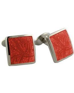 'paisley Orange' Sterling Silver Cuff Links