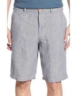 'line Of The Times' Relaxed Fit Striped Linen Shorts