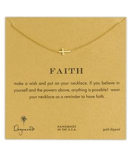 'reminder - Faith' Sideways Cross Pendant Necklace