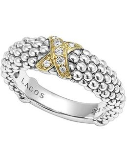 'x' Diamond & Caviar-(tm)' Two Tone Ring