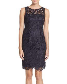 Illusion Bodice Lace Sheath Dress