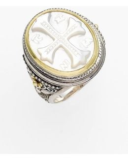 'athena' Mother Of Pearl Signet Ring