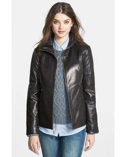 Stand Collar Leather Scuba Jacket
