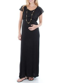 Lace Yoke Maxi Maternity Dress
