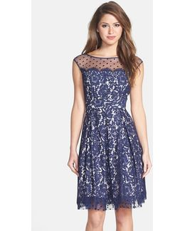 Illusion Yoke Lace Fit & Flare Dress