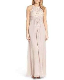 Beaded Lace & Chiffon Gown