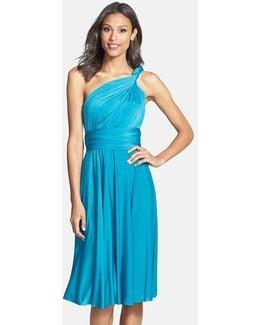 Convertible Wrap Tie Surplice Jersey Dress
