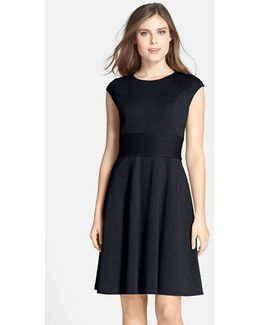 Pintucked Waist Seamed Ponte Knit Fit & Flare Dress