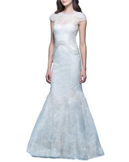 'jessica' Illusion Cap Sleeve Chantilly Lace Mermaid Gown