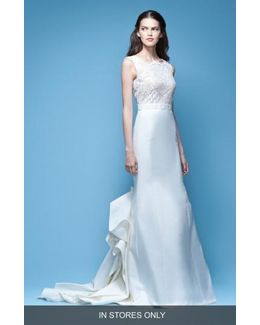 Josette Sleeveless Lace & Mikado Mermaid Gown With Origami Fold Train