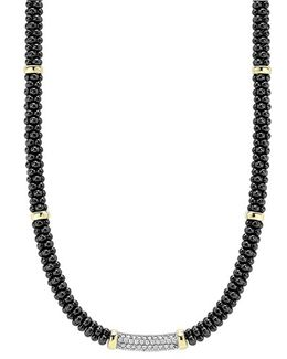 'black Caviar' 5mm Beaded Diamond Bar Necklace