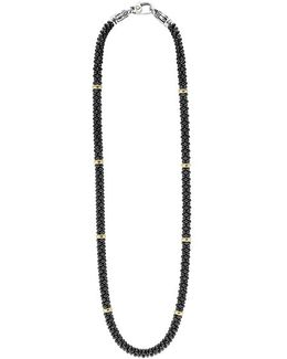 'black Caviar' Station Rope Necklace
